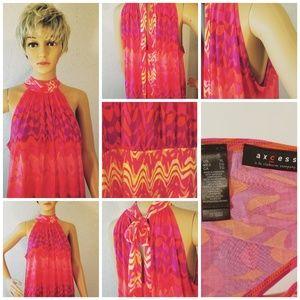 Axcess Orange Pink Halter Top Neck Ties